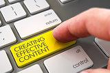 Hand Finger Press Creating Effective Content Button. 3D.