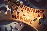 Maintenance Manual on the Golden Cogwheels. 3D Illustration.