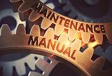 Maintenance Manual on the Golden Cogwheels. 3D Illustration.