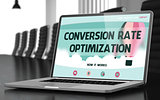 Conversion Rate Optimization Concept on Laptop Screen. 3D.