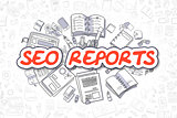 SEO Reports - Cartoon Red Inscription. Business Concept.