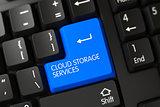 Blue Cloud Storage Services Keypad on Keyboard. 3D.