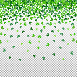 Seamless pattern with shamrock clover falling leaves on transparent background.