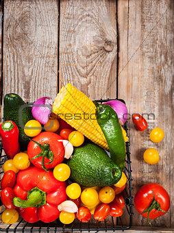 Fresh avocado, sweet corn, cherry tomatoes, onion, garlic, lemon
