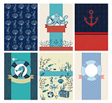 Vector set of greeting marine cards