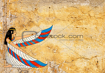 Grunge background with old stucco texture and Egyptian goddess I