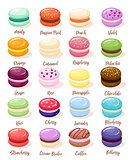 Macaroon set with isolated images of sweet fresh baked almond cookies of different taste and colour vector illustration