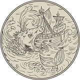 Ancient Sea Monster Attacking Sailing Ship Circle Drawing