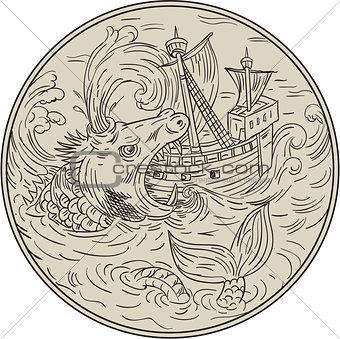 Ancient Sea Monster Attacking Sailing Ship Circle Drawing