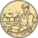 Cheesemaker Making Cheddar Cheese Circle Drawing