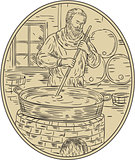 Medieval Monk Brewing Beer Oval Drawing