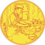 Swiss Cheesemaker Traditional Cheese Circle Drawing