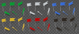 Colored thumbtacks flag isolated on transparent background