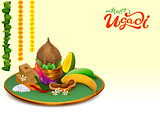 Happy Ugadi. Template greeting card Set Holiday accessories. Gold pot, coconut, sugar, salt, pepper, banana, mango