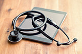 stethoscope and computer tablet