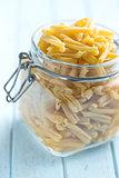 uncooked pasta caserecce in jar