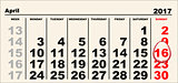 Calendar 16 April 2017 Easter. Egg shape reminder date
