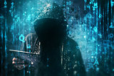 Computer hacker with hoodie in cyberspace surrounded by matrix c