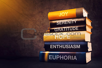 Positive emotions and feelings concept with book titles
