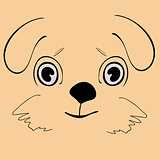 Puppy cute funny cartoon dog head