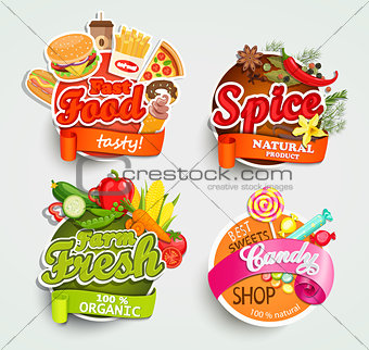 Food elements, design label or sticker.