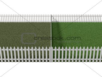 3d illustration of conceptual versus. neighbor's lawn versus you