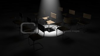 3d illustration of simple classroom chairs.