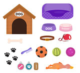 Dogs stuff icon set with accessories for pets, flat style, isolated on white background. Puppy toy. Doghouse, collar, food. Pet shop concept. Vector illustration, clip art.