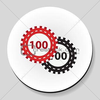 .Poker chips sticker icon flat style. Vector illustration.