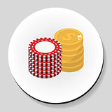 Money and chips stack sticker icon flat style. Vector illustration.