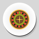 Roulette is a casino game sticker icon flat style. Vector illustration.