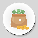 Bag of money and coins sticker icon flat style. Vector illustration.
