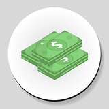 Dollars money sticker icon flat style. Vector illustration.
