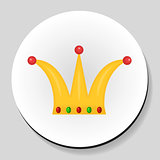 Golden Crown sticker icon flat style. Vector illustration.