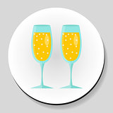 Two glasses of champagne sticker icon flat style. Vector illustration.