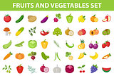 Fresh Fruit and Vegetable icon set, flat, cartoon-style. Berries and herbs isolated on white background. Farm products, vegetarian food. Vector illustration.