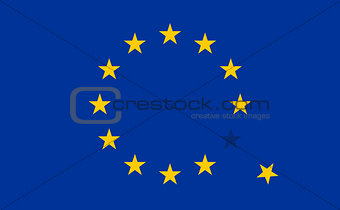 Flag of European Union EU with a flying star