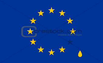 Abstract crying flag with Drop. European Union EU flag