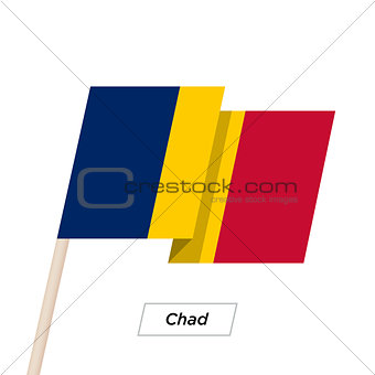 Chad Ribbon Waving Flag Isolated on White. Vector Illustration.