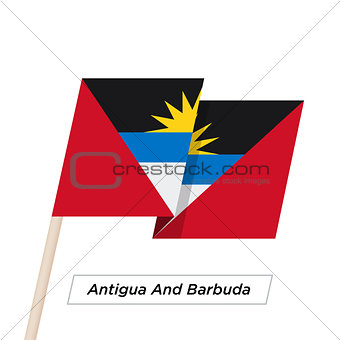 Antigua And Barbuda Ribbon Waving Flag Isolated on White. Vector Illustration.