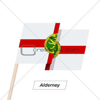 Alderney Ribbon Waving Flag Isolated on White. Vector Illustration.