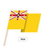 Niue Ribbon Waving Flag Isolated on White. Vector Illustration.