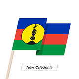 New Caledonia Ribbon Waving Flag Isolated on White. Vector Illustration.