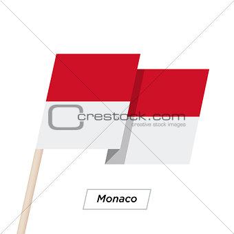 Monaco Ribbon Waving Flag Isolated on White. Vector Illustration.