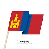 Mongolia Ribbon Waving Flag Isolated on White. Vector Illustration.
