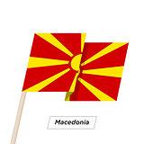 Macedonia Ribbon Waving Flag Isolated on White. Vector Illustration.