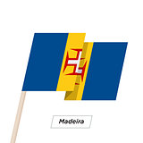 Madeira Ribbon Waving Flag Isolated on White. Vector Illustration.