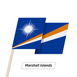 Marshall Islands Ribbon Waving Flag Isolated on White. Vector Illustration.