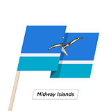 Midway Islands Ribbon Waving Flag Isolated on White. Vector Illustration.
