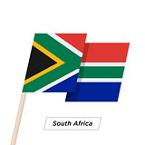 South Africa Ribbon Waving Flag Isolated on White. Vector Illustration.